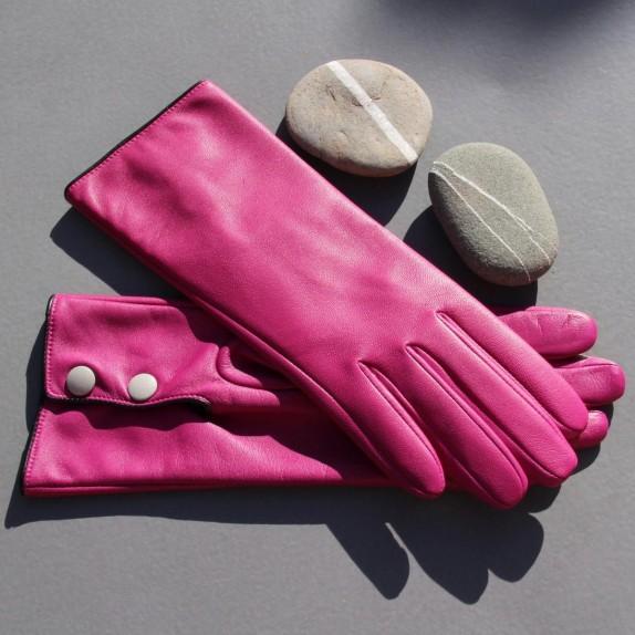 """Gants en cuir d'agneau hot pink noir et  gris """"JACINTHE""""."""