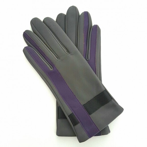 """Leather gloves of lamb charcoal black and améthyst """"GEOMETRIA"""""""