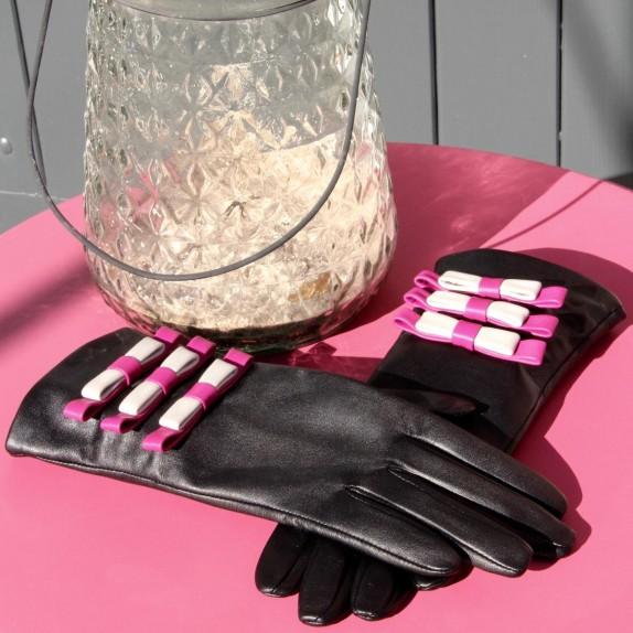 """Gants en cuir d'agneau noir hot pink et  gris """"OMBELINE"""""""