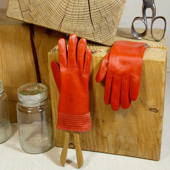 "Leather gloves of lamb orange and clay ""FENELON"""