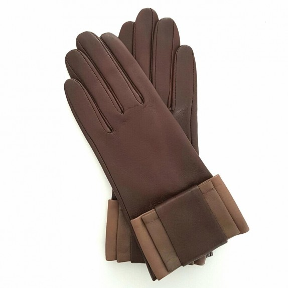 "Leather gloves of lamb brown and sand ""UCARA"""