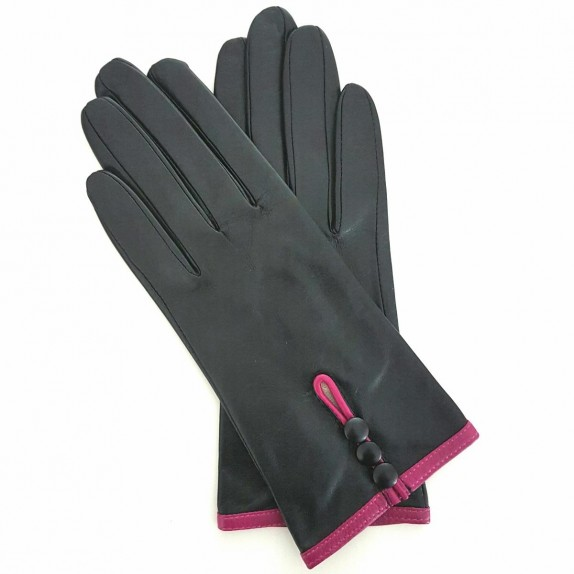 """Gants en cuir d'agneau noir et hot pink """"MARGUERITTE""""."""