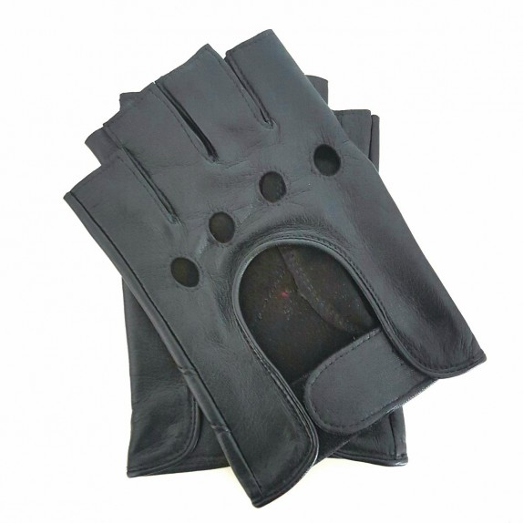 """Leather mittens of lamb grey """"PILOTE""""."""