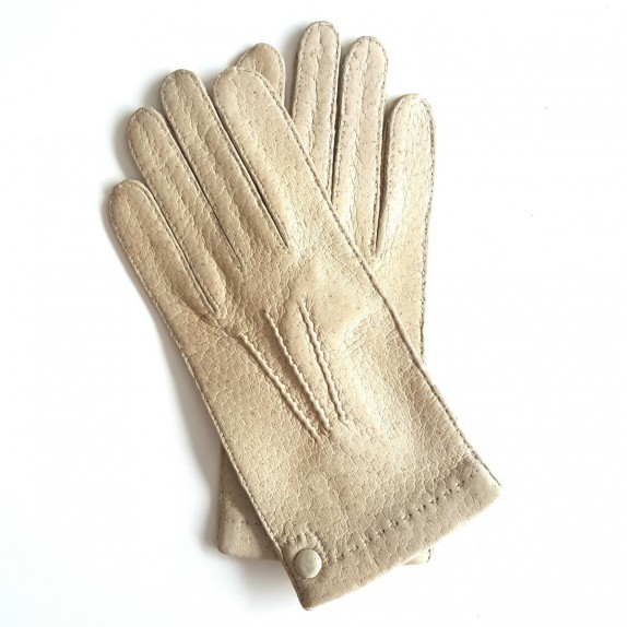 "Leather gloves of peccary otmeal ""PERNILLE"""