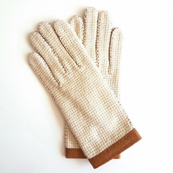 "Gants en cuir de pécari cork et crochet coton écru, ""PAULINA""."
