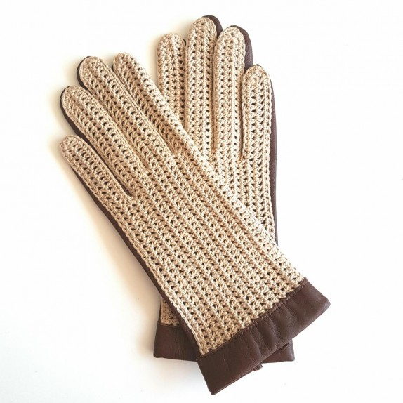 "Leather of lamb and cotton hook gloves beige, havana ""GANTS DE CONDUITE"""