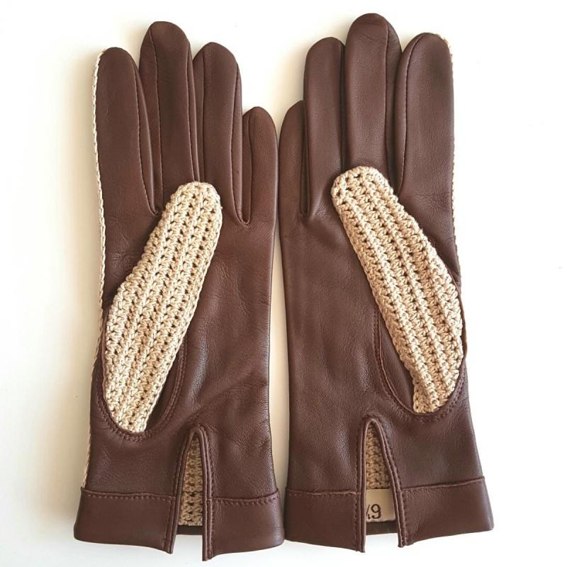 gants en cuir d 39 agneau havane gants de conduite non doubl s. Black Bedroom Furniture Sets. Home Design Ideas