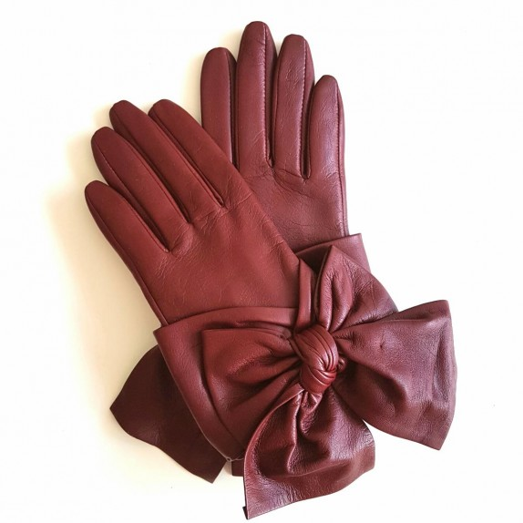 "Leather gloves of lamb maroon ""PALOMA"""