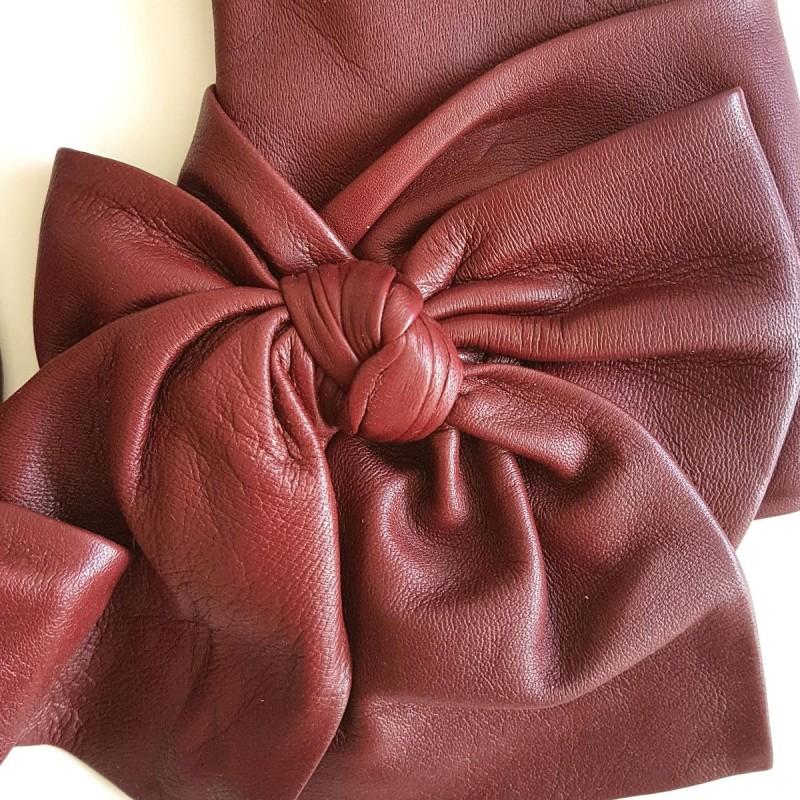 b637b0a4748c7 Leather Gloves of Lamb Maroon Paloma Lining Silk.