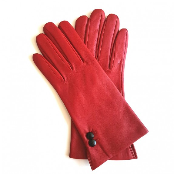 "Leather gloves of lamb red and black ""CLEMENTINE"""