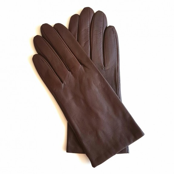 "Leather gloves of lamb tobacco ""CAPUCINE"""