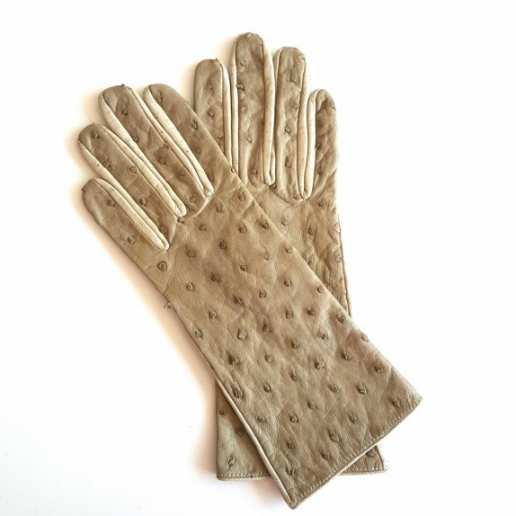 "Leather gloves of ostrich and pecarry otmeal ""MARIE- ANTOINETTE"""