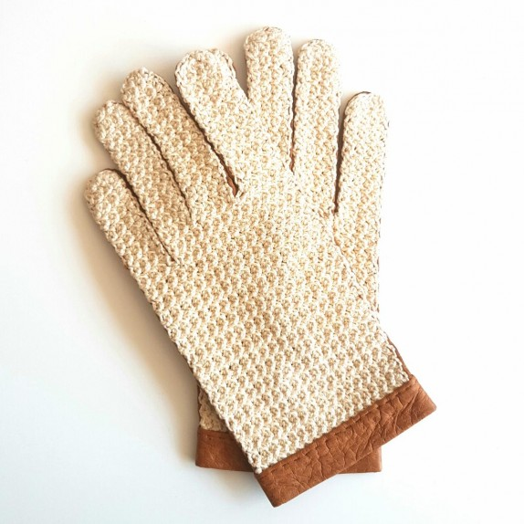"""Leather gloves of Pecary and cotton hook cork and beige """"EDOUARD"""""""