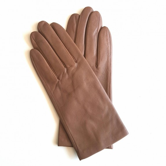 "Leather gloves of lamb glace chesnut ""CAPUCINE"""