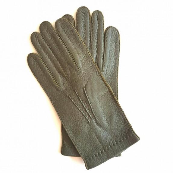 "Leather gloves of peccary kahki ""JOSEPH"""