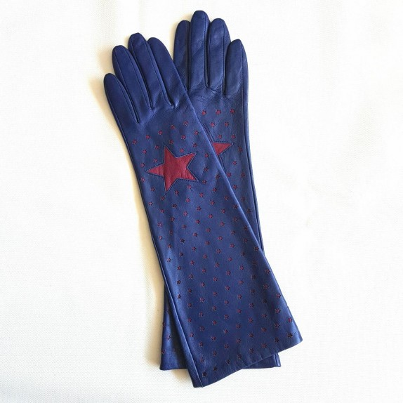 "Leather gloves of lamb blue and dark red  ""DIANA""."