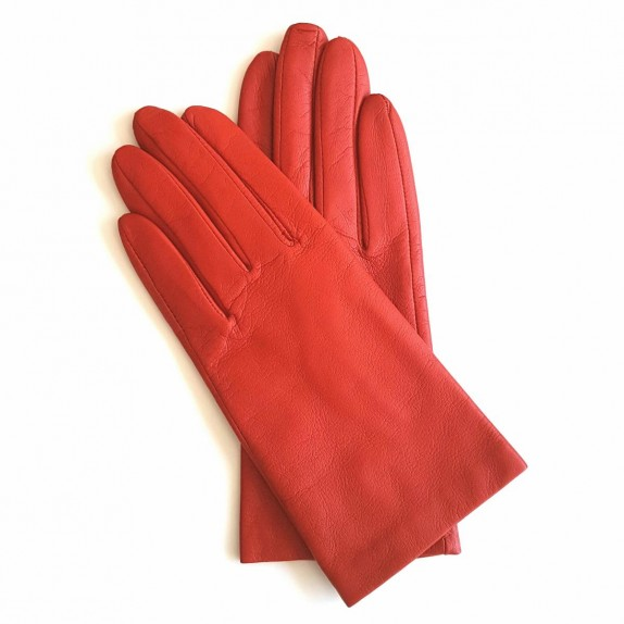 "Leather gloves of lamb orange ""CAPUCINE"""