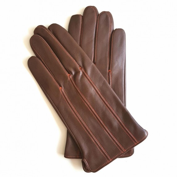 "Gants en cuir d'agneau marron et orange ""GEORGES""."
