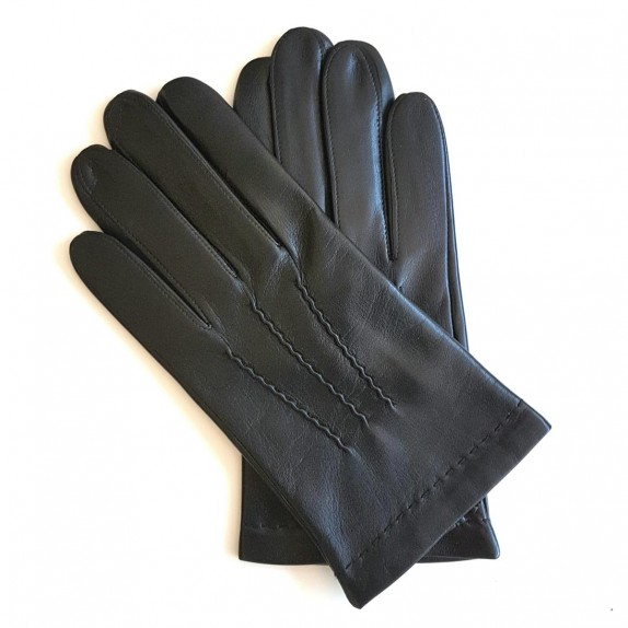 "Leather gloves of lamb black ""HENRI""."