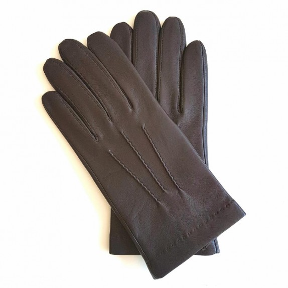 "Leather gloves of lamb brown ""HENRI""."