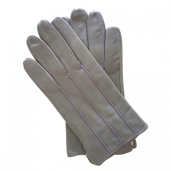 "Leather gloves lamb grey and amethyst ""GEORGES""."