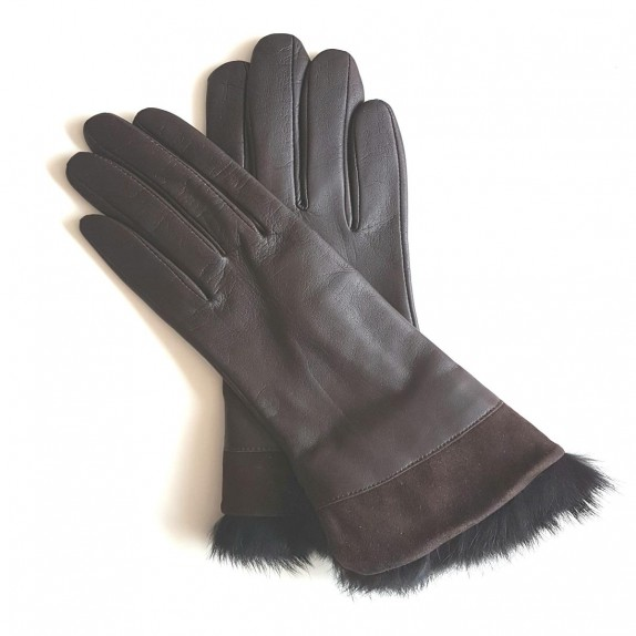 "Leather gloves of lamb and rabbit fur chesnut ""STEPPE""."