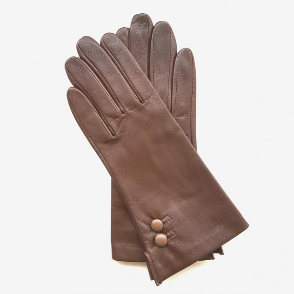 "Leather Gloves of lamb chocolate, sand  ""CLEMENTINE"""