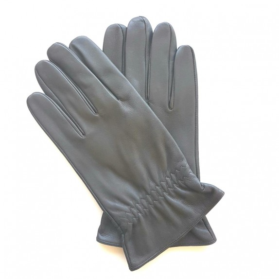 "Leather gloves of lamb grey ""MILO"""