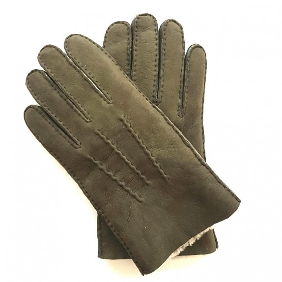 "Leather gloves of lambskin olive ""JIVAGO"""