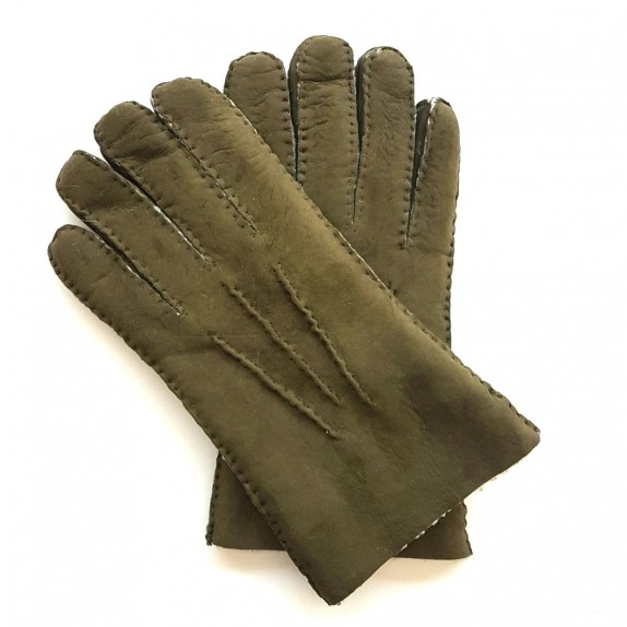 "Leather gloves of lambskin khaki  ""JIVAGO""."