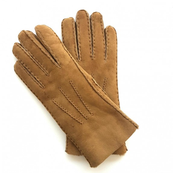"Leather gloves of shearling camel ""JIVAGO""."