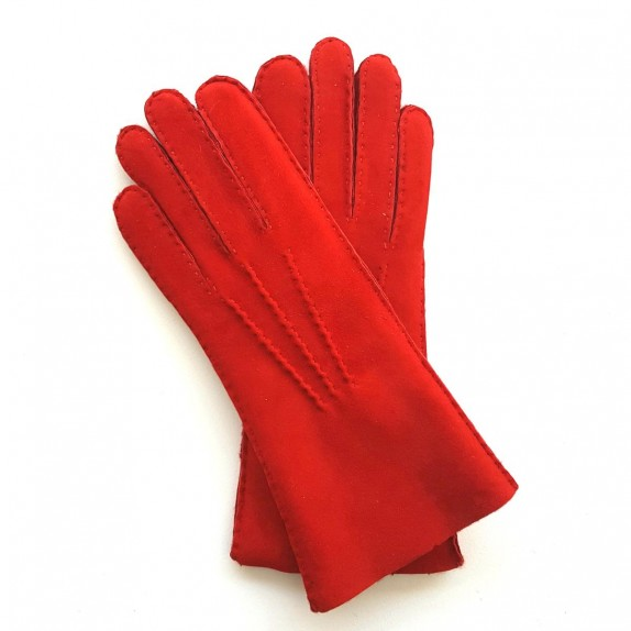 "Leather gloves of shearling red ""ANASTASIA"""