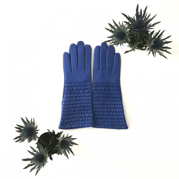 "Leather  gloves  of lamb blue ""ATHEA"""