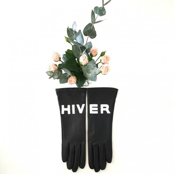 """Leather gloves  of lamb black and white """" HIVER """"."""