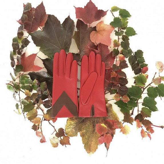 """Leather Gloves of lamb red and havana """"AGLAE"""""""