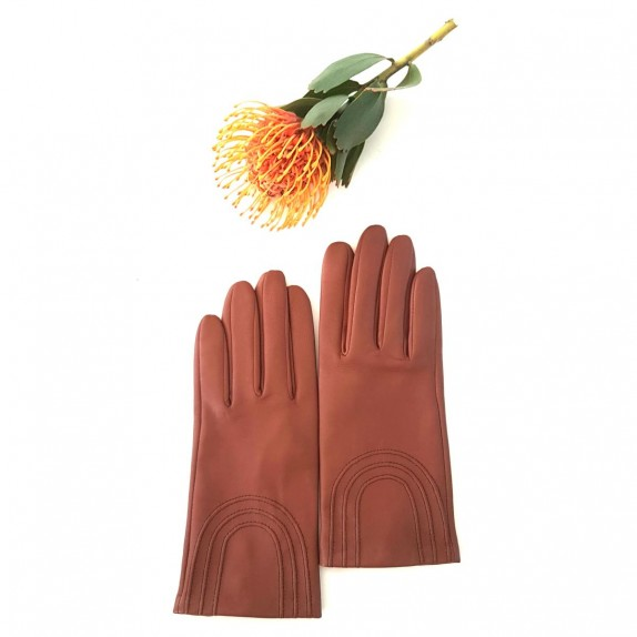 "Leather gloves of lamb cognac ""ADA""."