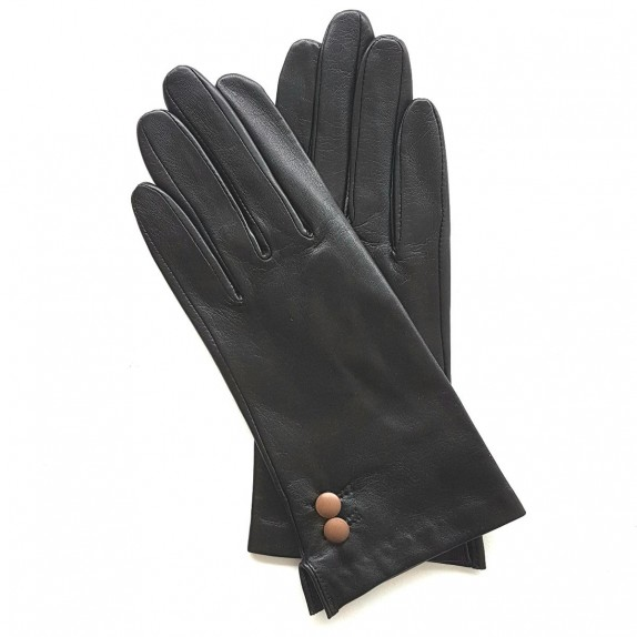 "Leather gloves of lamb black and sand ""CLEMENTINE""."