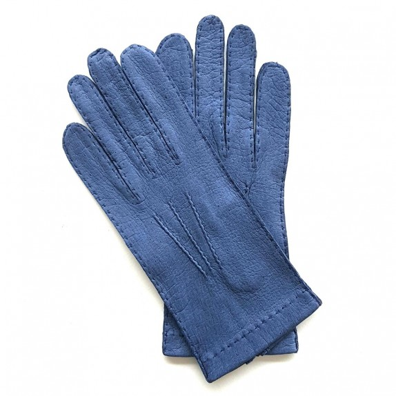 "Leather gloves of peccary blue ""JOSEPH""."