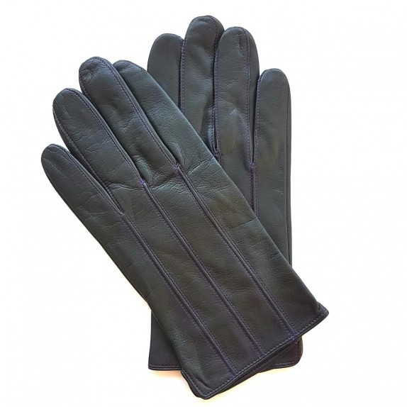 "Leather gloves of lamb dark grey and amethyst ""GEORGES""."