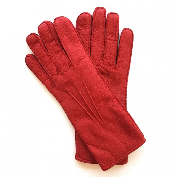 "Leather gloves of pecarry red ""LEONIE""."