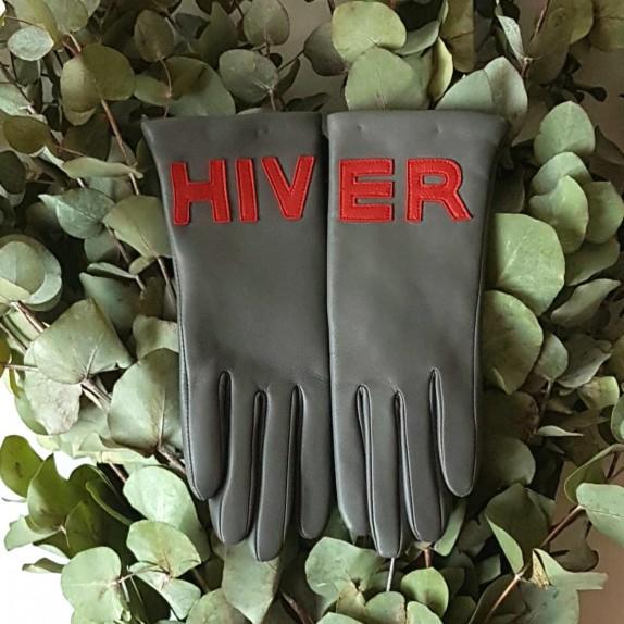 """Gants en cuir d'agneau gris et rouge doublé cachemire """"HIVER""""."""
