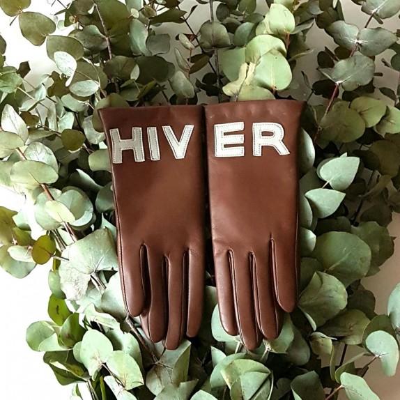 """Gants en cuir d'agneau marron et gris """"HIVER""""."""