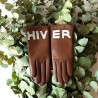 "Leather Gloves of Lamb brown and grey lining cashmere ""HIVER""."