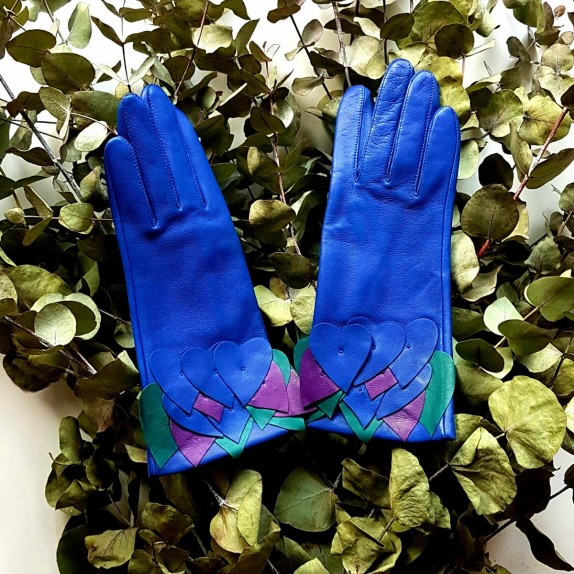 "Leather gloves of lamb blue, green and amethyst ""AWINITA""."