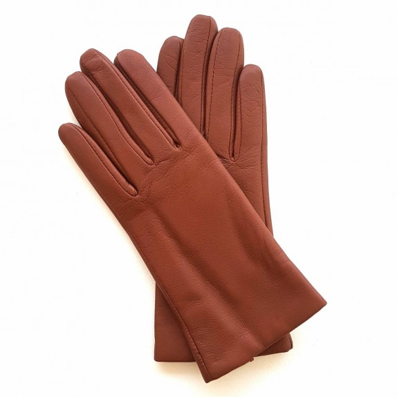 "Leather gloves of lamb cognac ""CAPUCINE""."