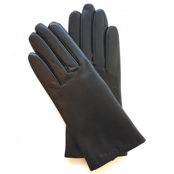 "Leather gloves of lamb black ""CAPUCINE""."