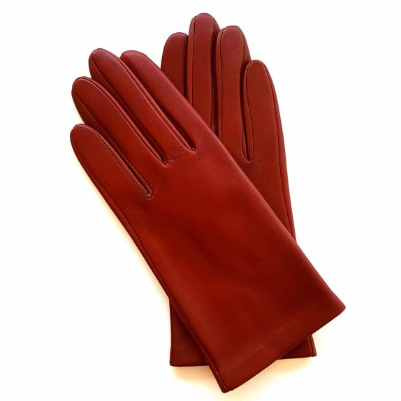 "Leather gloves of lamb chesnut ""CAPUCINE""."