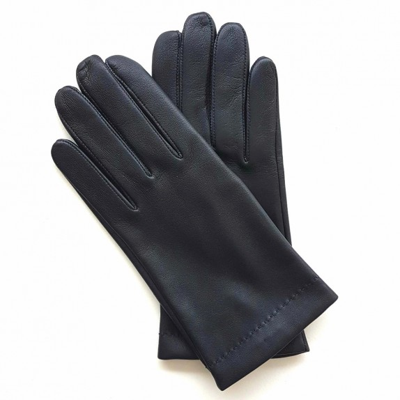 "Leather gloves of lamb navy and maroon ""MARTIN"""