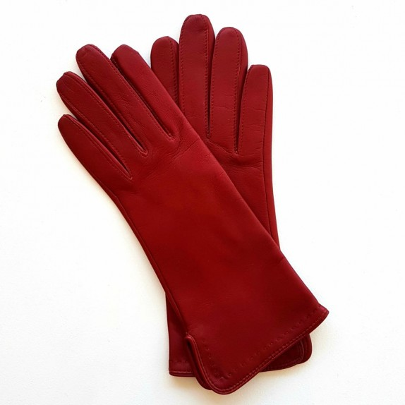 "Leather gloves of lamb maroon ""VIOLETTE""."