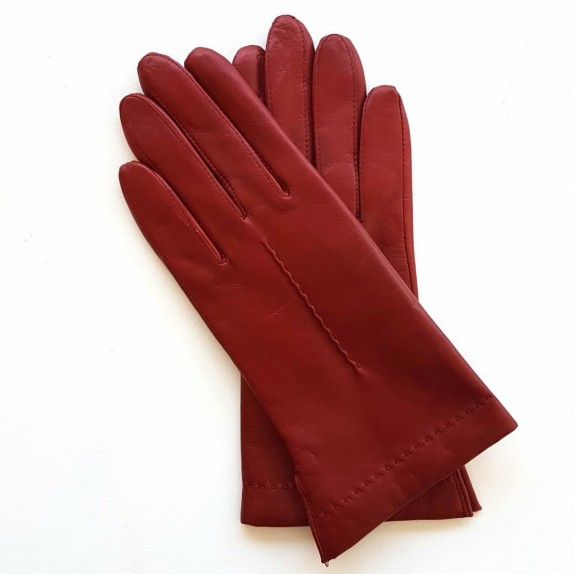 """Leather gloves of lamb Maroon """"THERESE""""."""
